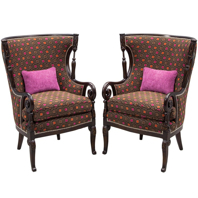Pair of antique living room wing arm chairs at 1stdibs for Living room seating furniture