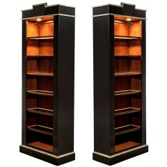 Pair of Mint Condition Black Lacquer Silver Leaf Display Cabinets Bookcases