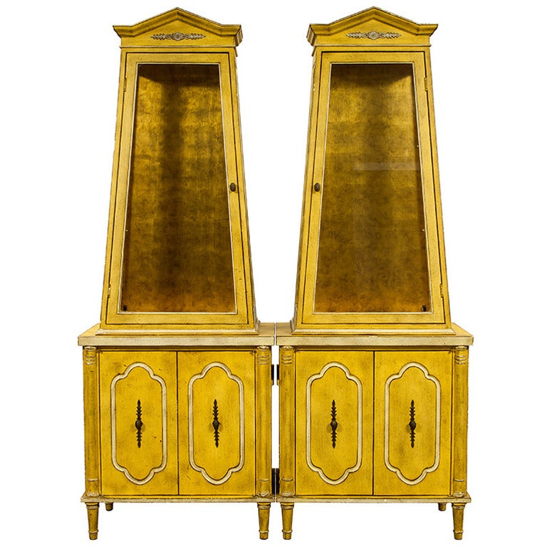pair of antique pyramid shaped armoire display cabinets at 1stdibs. Black Bedroom Furniture Sets. Home Design Ideas