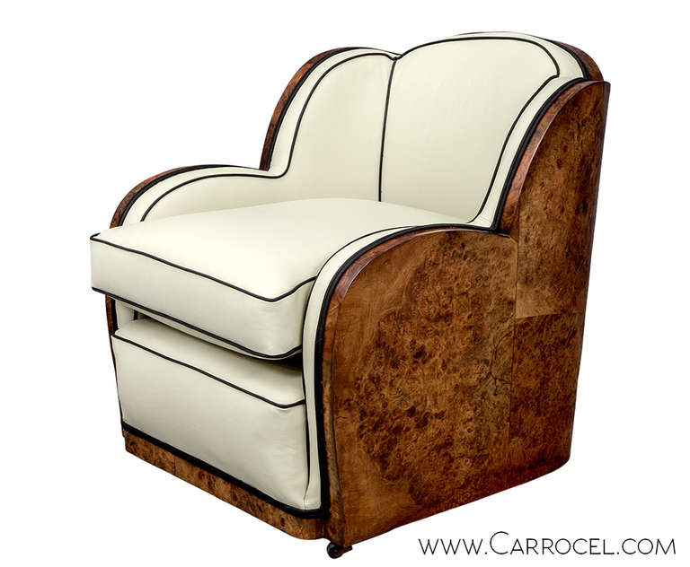 Pair of antique art deco burl walnut leather tub chairs at for Examples of art deco furniture