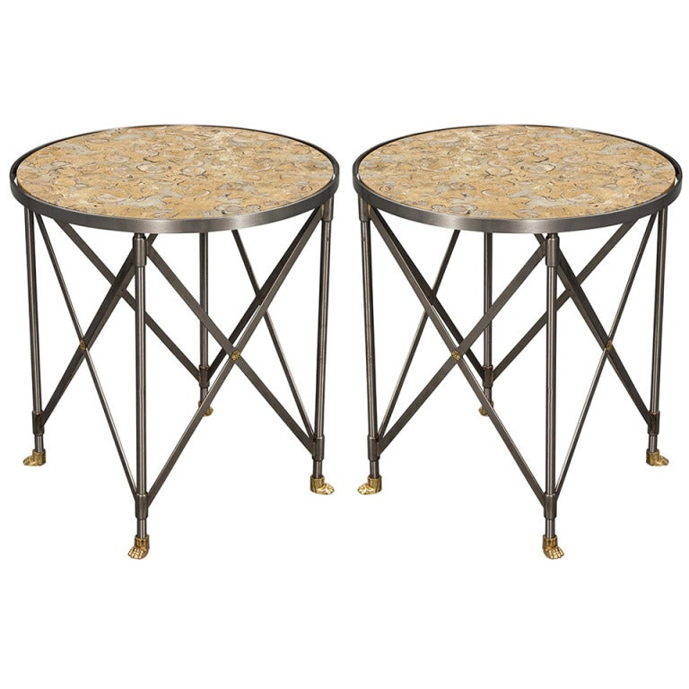 Pair of 20th Century Marble-Top Neoclassical Gueridon Parlor End Tables