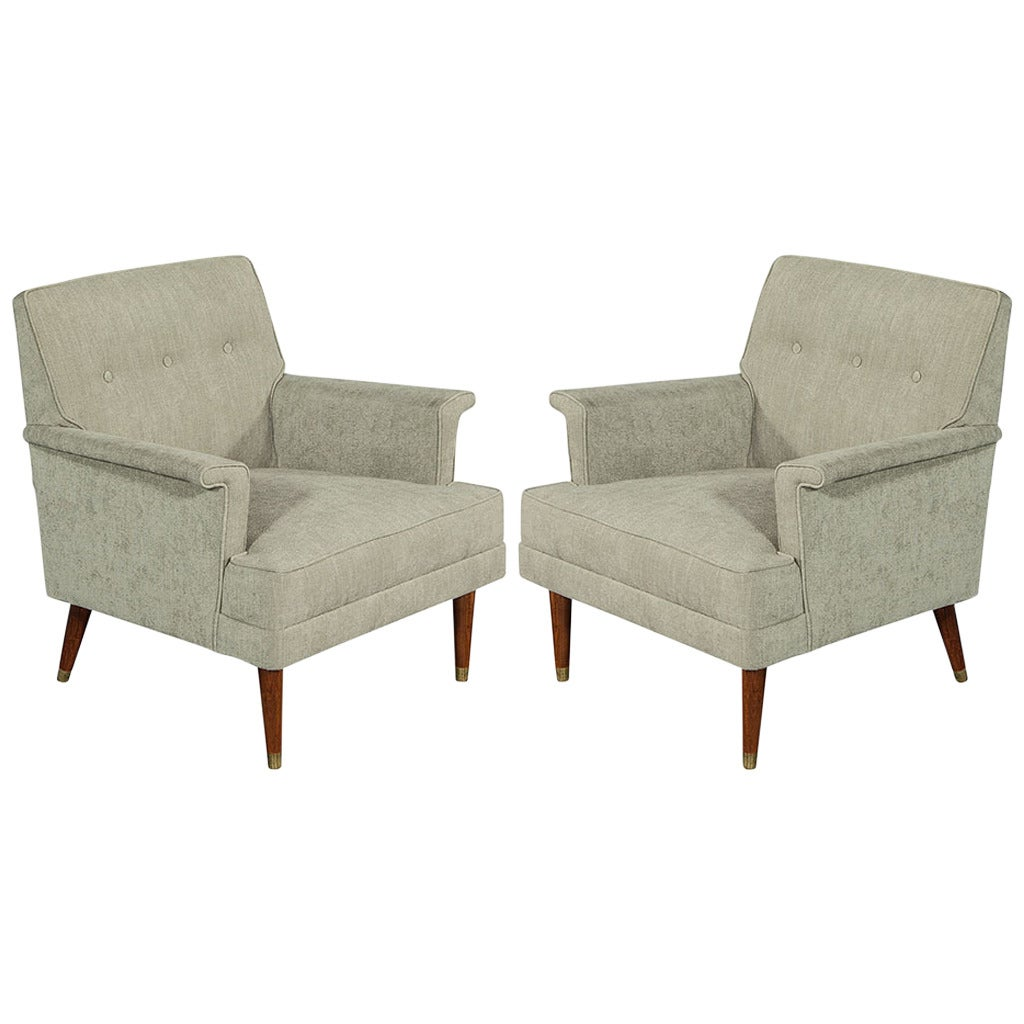 Pair of mid century modern lounge chairs for sale at 1stdibs for Modern lounge furniture