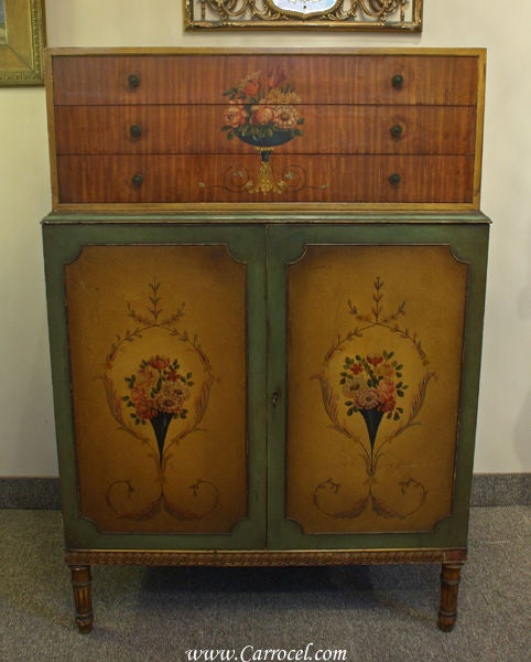 Antique Adam Style Hand-Painted Bedroom Dresser at 1stdibs