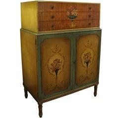 Antique Adam Style Hand-Painted Bedroom Dresser