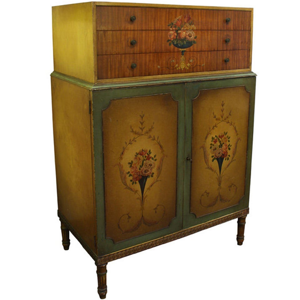 Antique adam style hand painted bedroom dresser at 1stdibs for Hand painted furniture