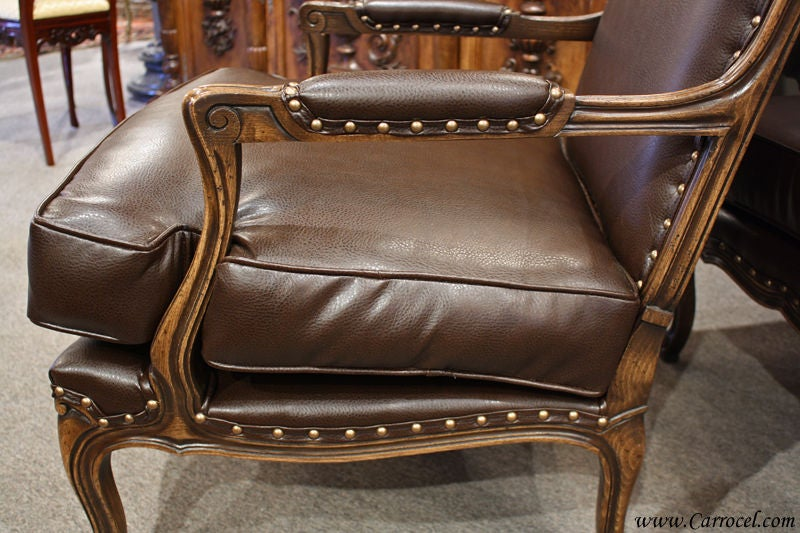 leather french country bergere arm chair and ottoman for sale at 1stdibs. Black Bedroom Furniture Sets. Home Design Ideas