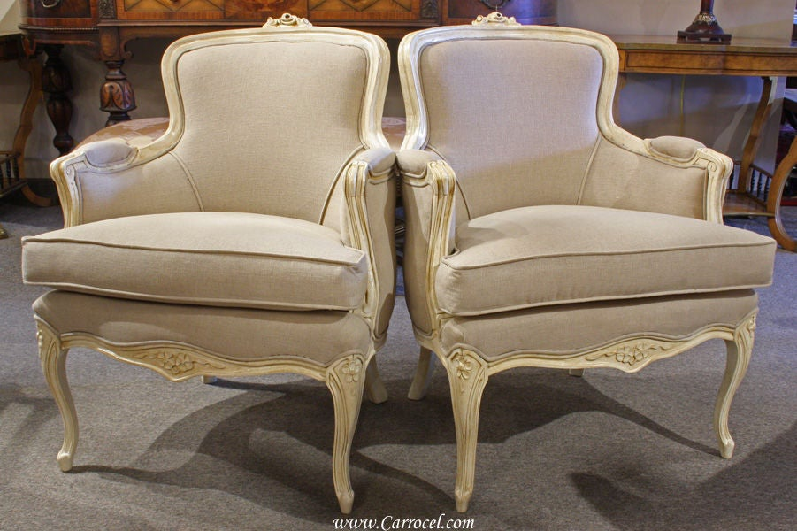 Pair Of Antique Cream Bergere French Living Room Chairs At