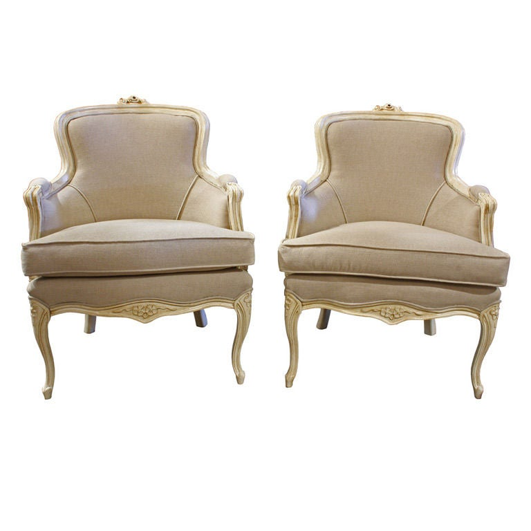 Pair Of Antique Cream Bergere French Living Room Chairs At 1stdibs