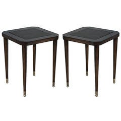 Pair of Leather Embossed End Tables