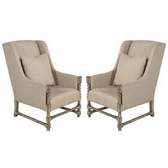 Pair of Linen Wing Back Lounge Chairs