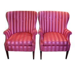 Pair of Vintage Upholstered Regency Striped Pink Arm Chairs