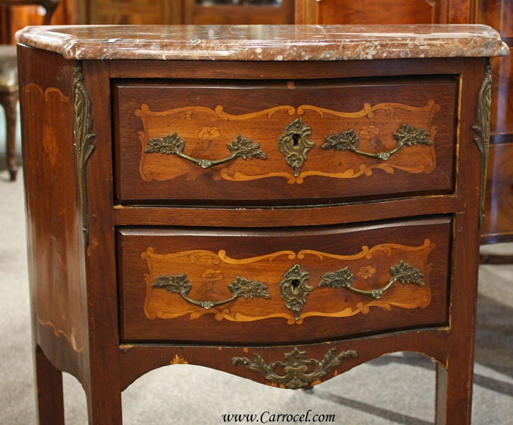 Antique Inlaid Marble Table : Antique marble top louis xv inlaid end table commode at