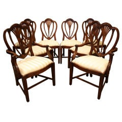 Set of 8 Solid Mahogany Heart Back Dining Chairs