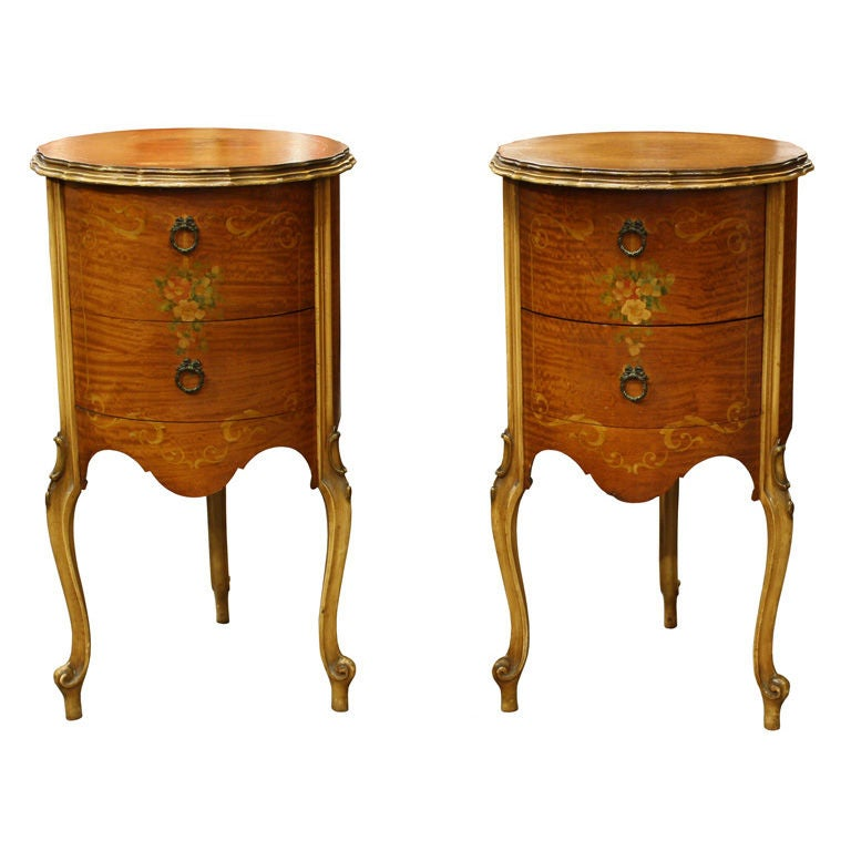 Pair Of Antique French Hand Painted Louis Xv End Tables