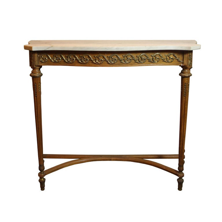 Foyer Table With Marble Top : Antique french marble top hall console table