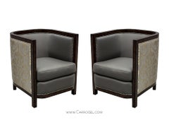 Pair of Custom-Made Art Deco Zebrano Wood Parlor Living Room Chairs