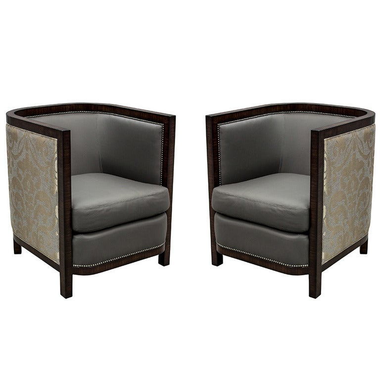 Pair of custom made art deco zebrano wood parlor living for Art deco living room chairs