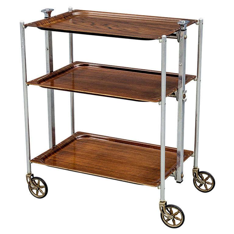 vintage mid century folding bar cart chrome at 1stdibs. Black Bedroom Furniture Sets. Home Design Ideas
