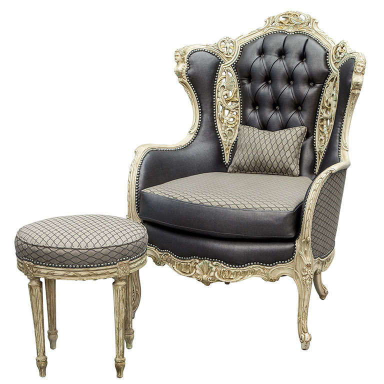 ... Italian Hand Carved Fireside Wing Chair with Footstool at 1stdibs