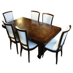 Antique French Art Deco Walnut and Cherry Table & Chairs