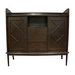 Antique French Art Deco European Oak Wall Unit Armoire