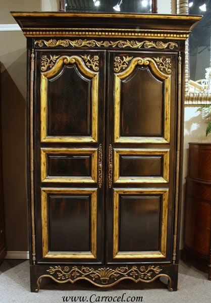 Black And Gold French Armoire Wardrobe By Ej Victor At 1stdibs