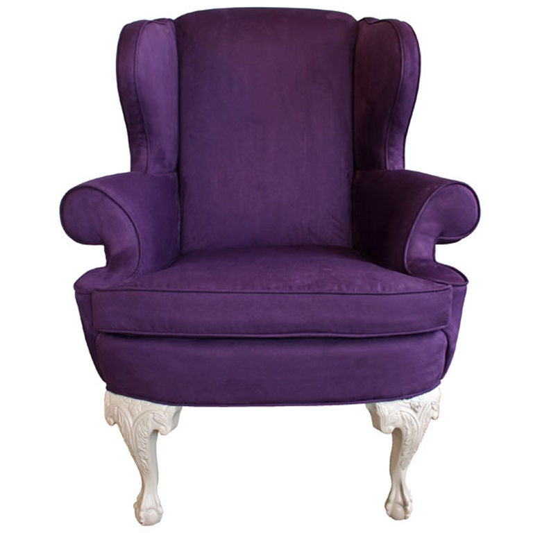 Custom Modern Chippendale Wing Chair by Ethan Allen