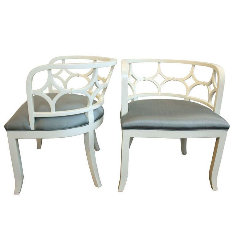 Pair of diamond back curved cream living room chairs for for Pair of chairs for living room