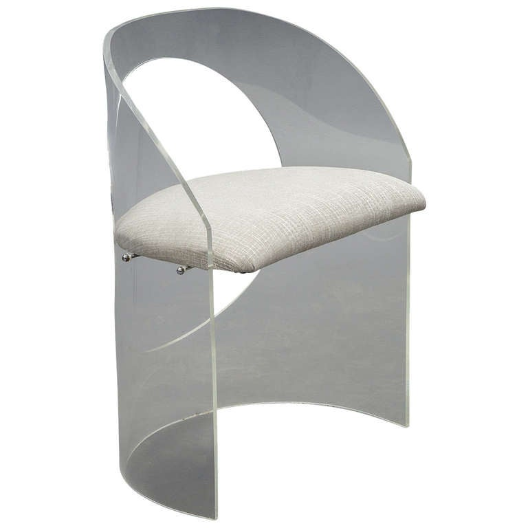 Lucite mid century curved back vanity chair