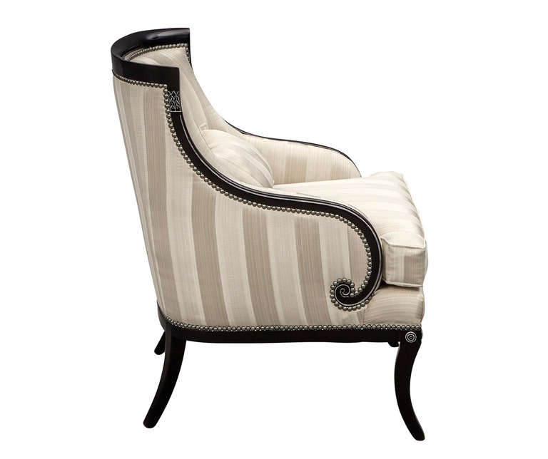 Pair Of Hollywood Regency Parlor Lounge Chairs With