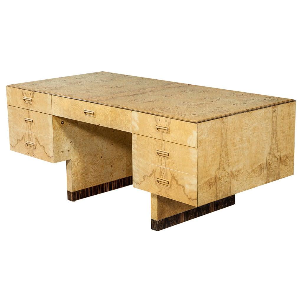Vintage Scene Two Series Burled Ash Executive Desk By Henredon Furniture For