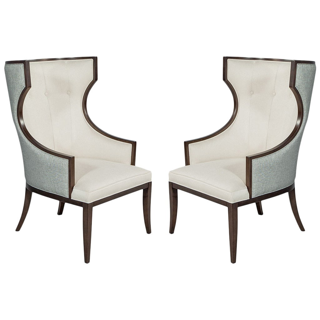 Pair of Ceeside Transitional Wing Chairs