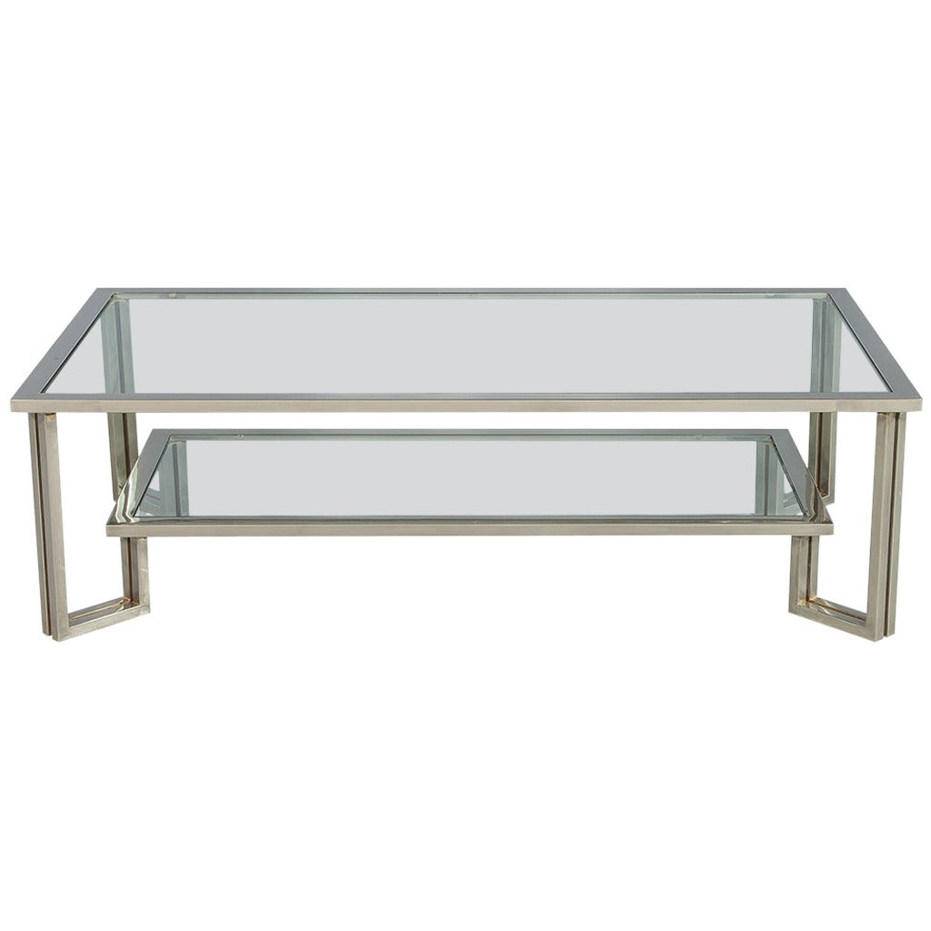 Midcentury chrome and glass coffee table at 1stdibs Coffee tables glass