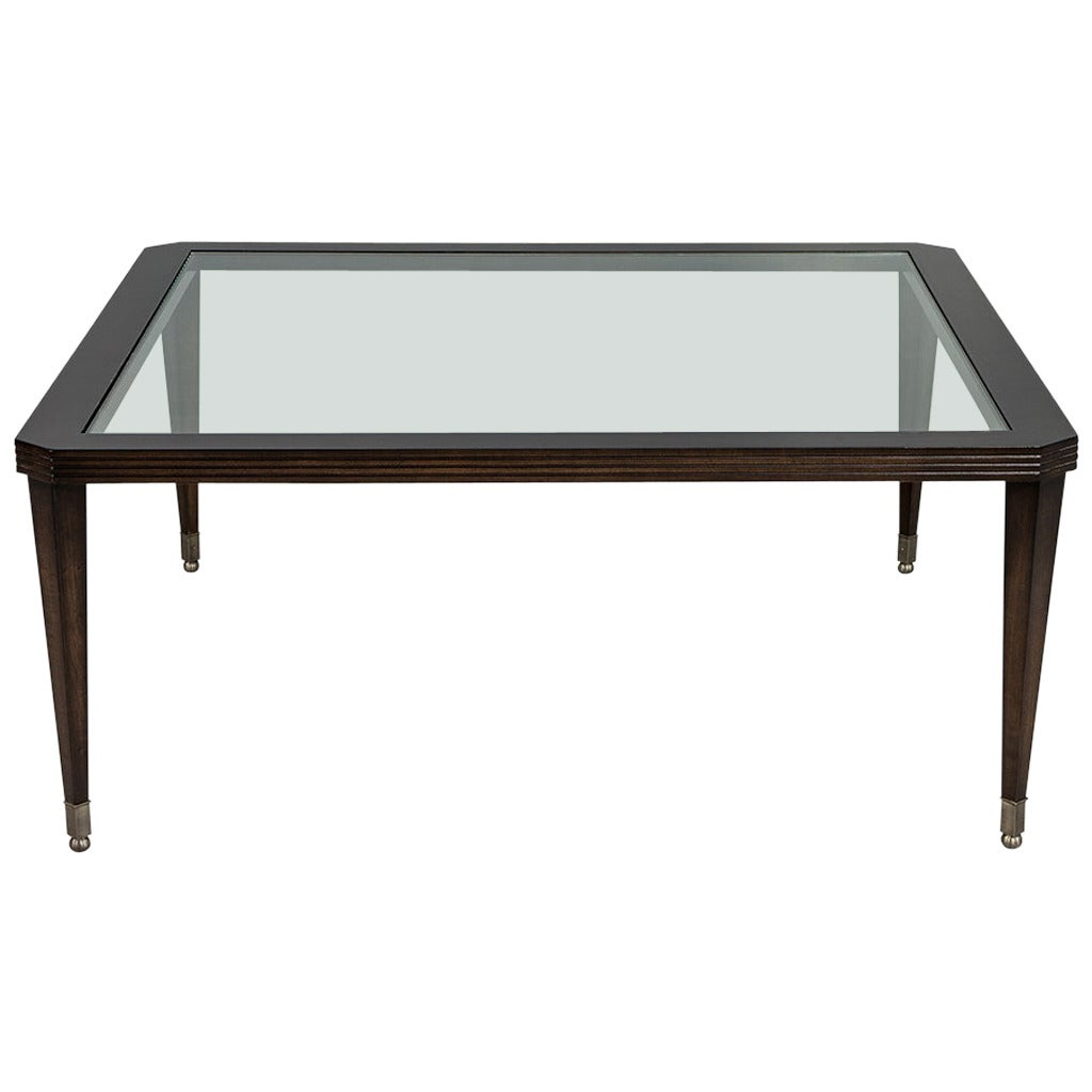 Walnut square glass top cocktail table at 1stdibs Glass coffee table tops