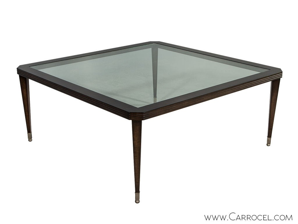 Walnut square glass top cocktail table at 1stdibs Glass top for coffee table
