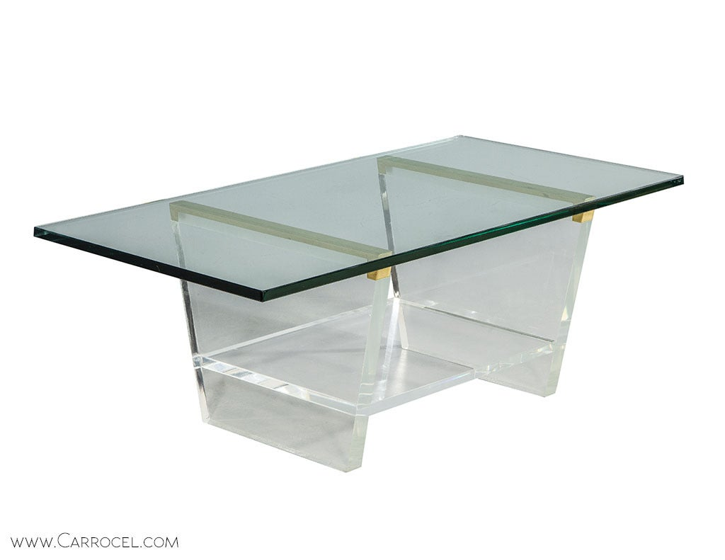 Lucite Cocktail Table With Brass Accents At 1stdibs