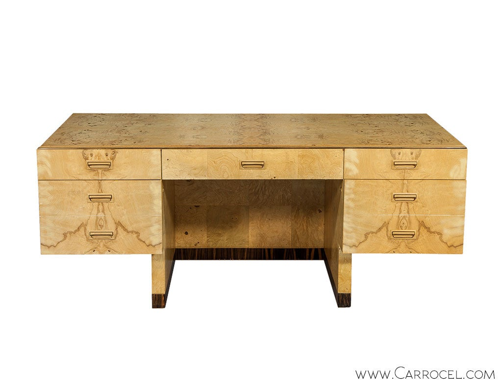 vintage two series burled ash executive desk by