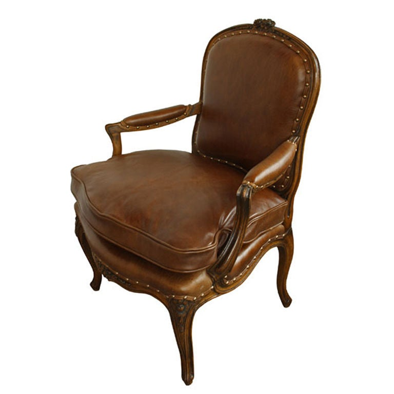 Antique Walnut French Country Leather Arm Chair For Sale