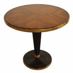 Gold Leafed & Ebonized Art Deco Walnut Sofa End Table