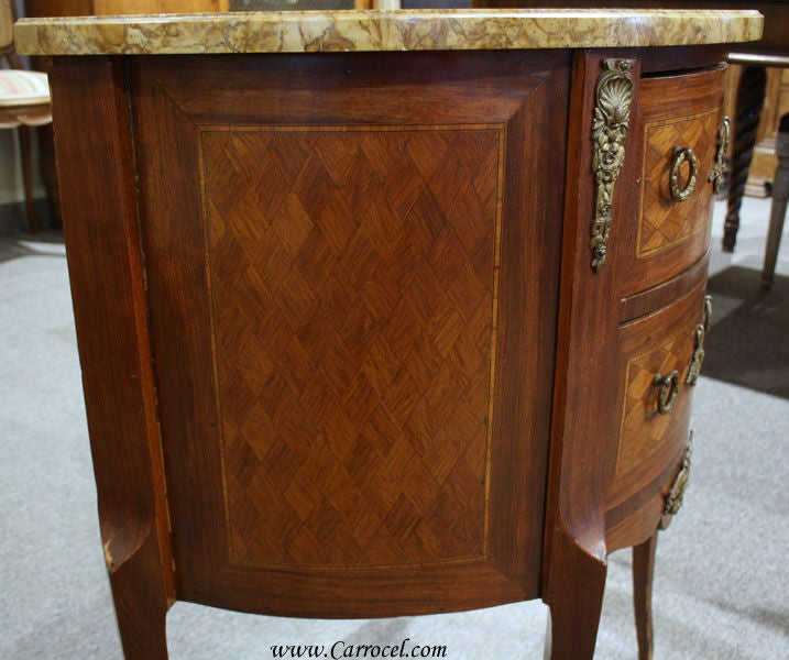 Antique Marble Top Louis XV Rosewood End Table Commode at 1stdibs