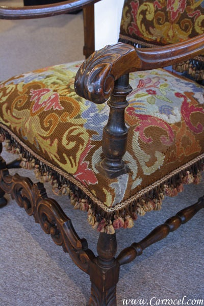 Antique Late 1800 S Gothic Needle Point Throne Chair At