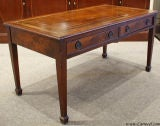 Antique Solid Mahogany Leather Top Coffee Table image 2