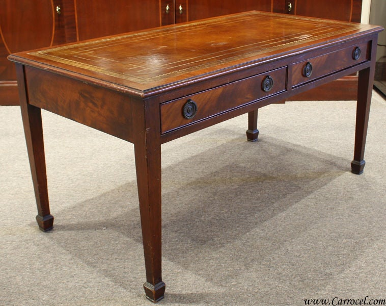 Antique Solid Mahogany Leather Top Coffee Table 2