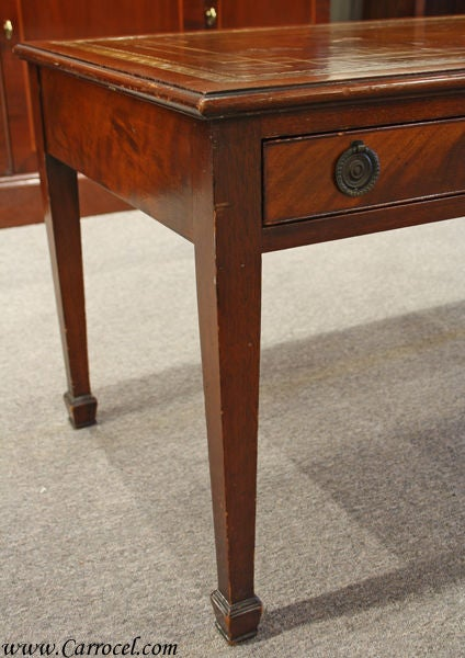 Antique Solid Mahogany Leather Top Coffee Table 3