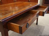 Antique Solid Mahogany Leather Top Coffee Table image 4