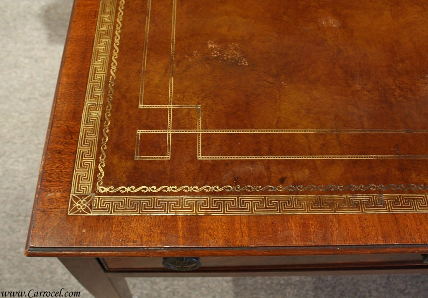 Antique Solid Mahogany Leather Top Coffee Table 5