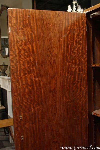 Antique Ribbon Mahogany Art Deco Armoire Wardrobe Circa