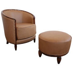 Antique Art Deco French Leather Club Chair and Ottoman