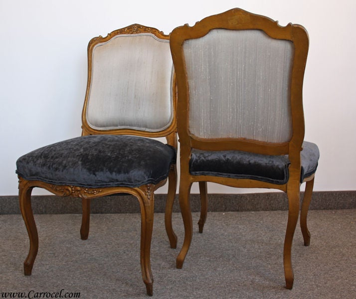 Pair Of Antique Louis Xv Living Room Parlor Side Chairs At 1stdibs