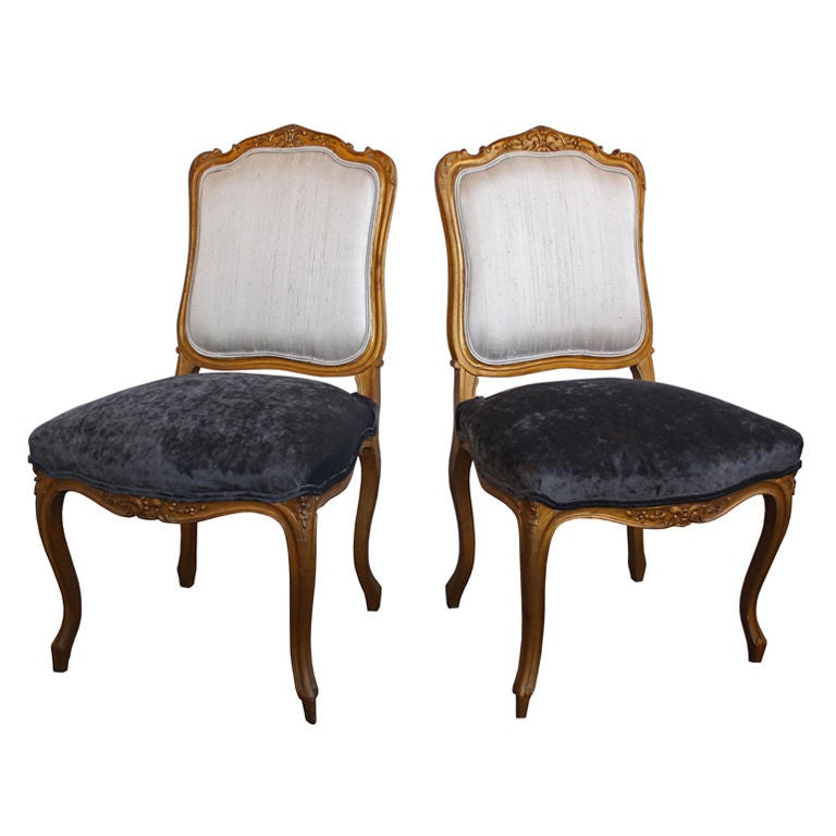 Pair of antique louis xv living room parlor side chairs at for Pair of chairs for living room